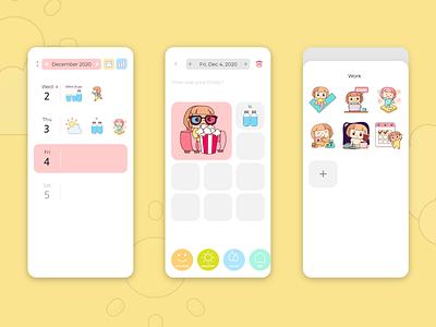 Sticker Diary ux ui app character diary sticker