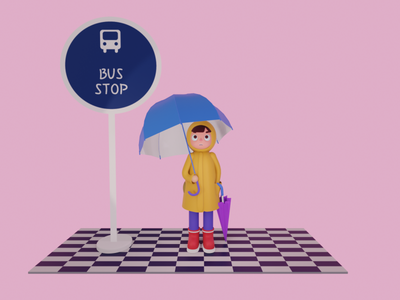 umbrella boy design bus stop character 3d