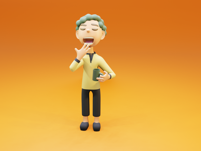 I want to sleep more... boy pajamas morning coffee character 3d