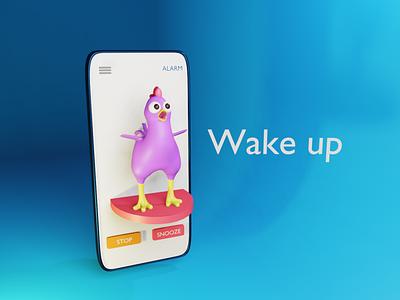 Alarm character 3d chicken alarm app
