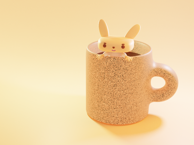 Coffee lovers 3dillustration rabbit coffee cup mug 3d