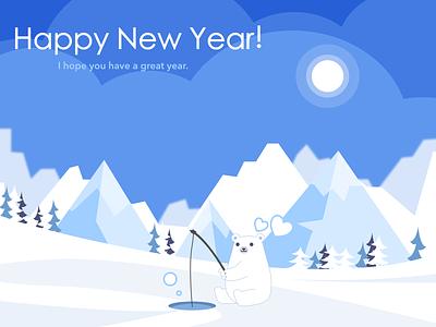 Happy New Year fishing bear flat illustration
