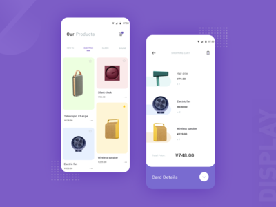 Electronic product shopping interface