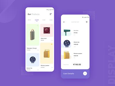 Electronic product shopping interface 设计 卡片 支付 design 产品 概念 购物 紫色 安卓 收藏 ui