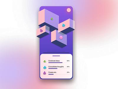 Concept Floating Boxes app vector ux ui 3d art design