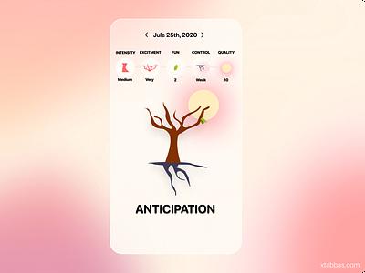 Mood Forrest Concept mobile ui mobile design mobile app illustration ui flat design app trees emotional design mood emotions tree