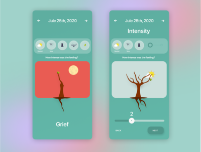 Mood forest slider trees animation emotions casestudy interaction design user experience ux design ux ui ui design app