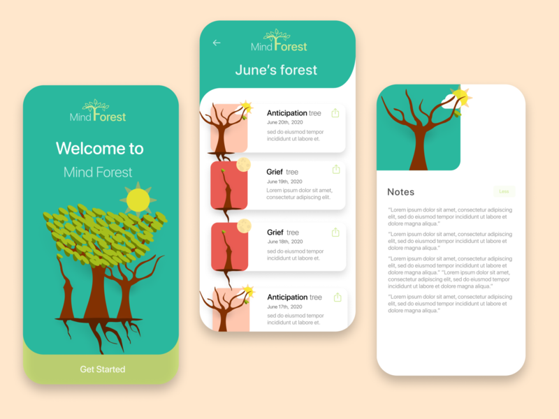Mind Forest (Other Screens) user experience ux forest trees design art interaction emotions