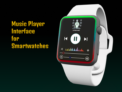 Music Player Interface for Smartwatches user interface design colorful interface audio player music player watch interface ui  ux uiux uidesign ui design ux  ui uxui ux design smartwatch clean ui simple clean interface ux ui concept design