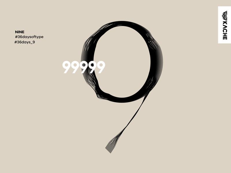 Nine - 9 branding lettering vector lineart design type art typedesign type typography