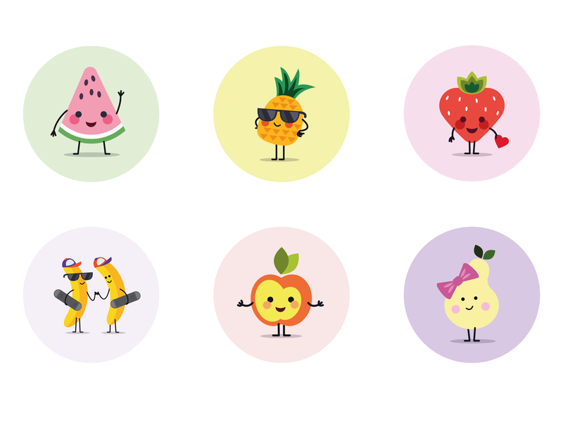 Funny Fruits Icons food kids art vector design kids icons fruit icons illustration icon icondesign