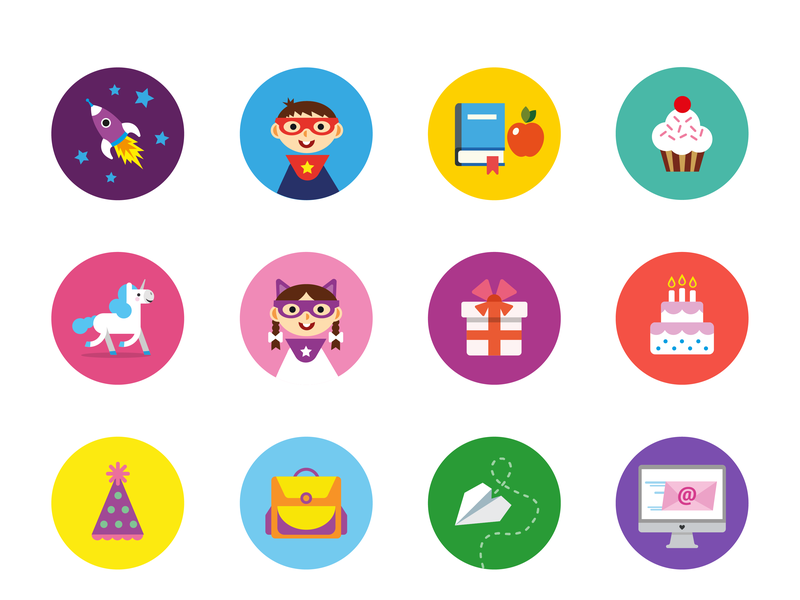 2 Cool 4 School Icon Set vector ui power kids school icons school illustration kids icons kids art iconography branding icondesign icon