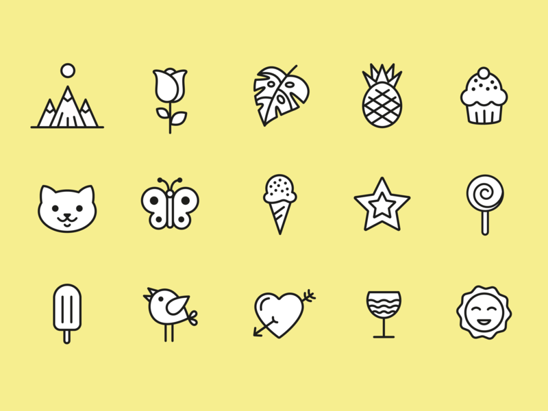 Happy Time Icons happy time summer summer icons white and black white yellow happiness outline icons funny icons funny happy icons happy illustration ui vector icon icondesign