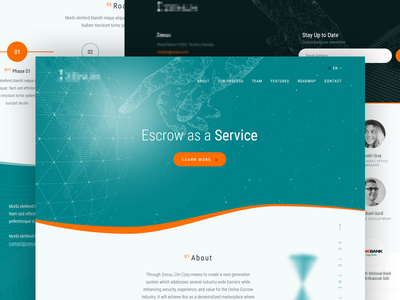 Website for New Cryptocurrency Escrow Service vordik canada toronto fintech bitcoin cryptocurrency landing page one page homepage uiux website web design