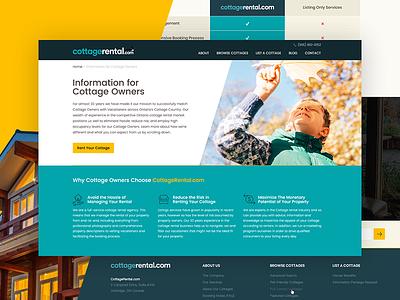 Website for Cottage Rental Service web desig canada toronto ontario vacation rental hotel cottages travel homepage uiux website