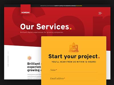 Vordik Website - Our Services vordik canada toronto e-commerce homepage uiux agency services website web design