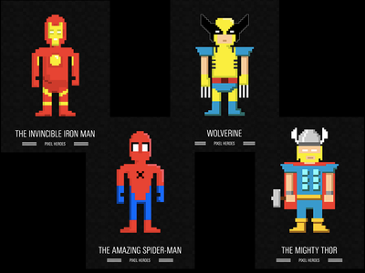 Pixel heroes hulk ironman thor wolverine superman pixel heroes