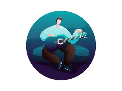 Guitar flat guitar illustrator blue vector illustration design