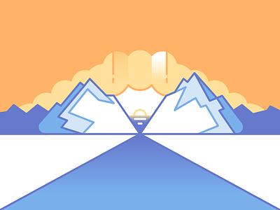 Pencil Landscape landscape pencil clouds sun moutain orange blue flat design flat designer affinitydesigner affinity vector illustration design