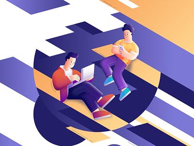 People in internet webillustration orange blue designer affinitydesigner affinity vector illustration design