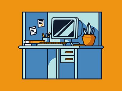 Workplace orange county computer work workplace desk blue flat design flat designer vector illustration design affinitydesigner affinity