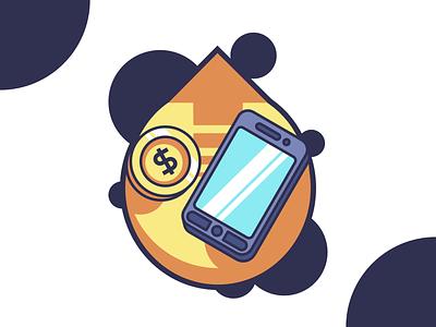 Smartphone Upgrade money arrow upgrade coin smartphone flat design flat designer vector illustration design affinitydesigner affinity