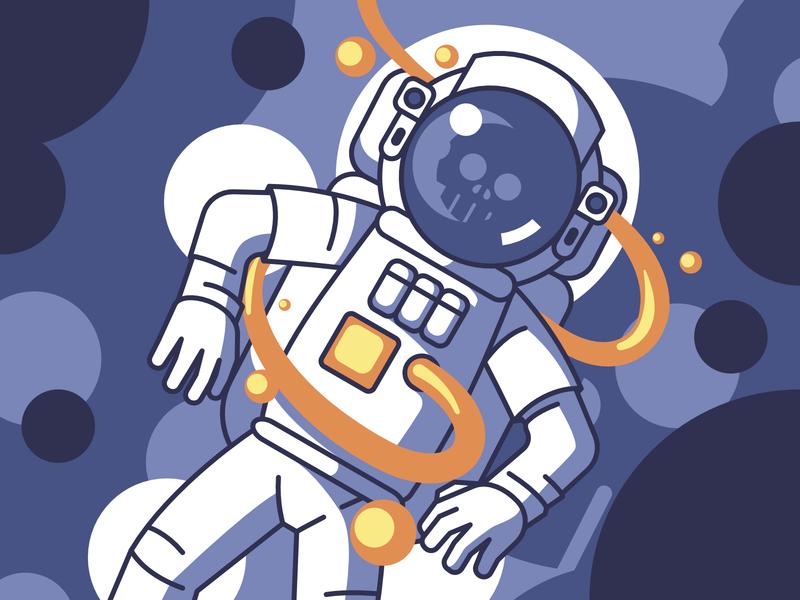 Orange Poison skull dead poison space cosmos cosmonaut astronaut orange flat design flat designer vector illustration design affinitydesigner affinity