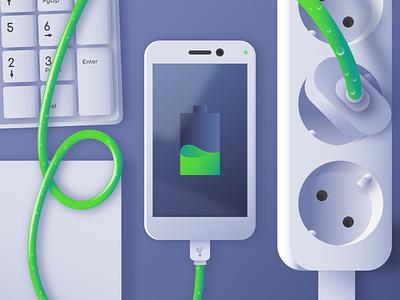 Smartphone Charger fluid cable plug battery green blue flat design flat designer vector illustration design affinitydesigner affinity