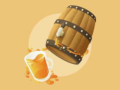 Happy Hour alcohol hour happy cup barrel beer orange flat design flat designer vector illustration design affinitydesigner affinity