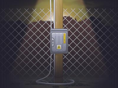Electricity Box cable pole high voltage pole night light danger energy electicity box designer vector illustration design affinitydesigner affinity