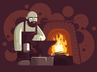 Blacksmith fire beard blacksmith hammer furnance burgundy flat design flat designer vector illustration design affinitydesigner affinity