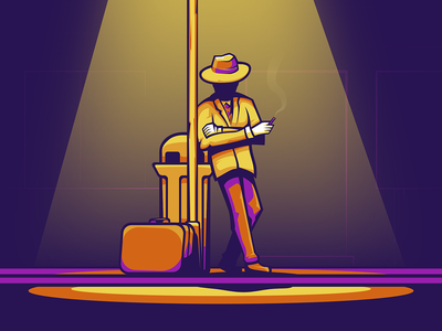 Midnight cigarette purple yellow orange light suitcase midnight night suit smoking hat lamp cartoon character cartoon designer vector illustration design affinitydesigner affinity