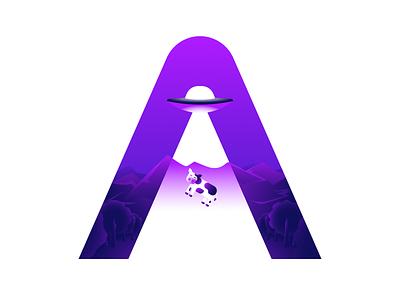 A-lien light violet cow alien ufo flat design flat designer vector illustration design affinitydesigner affinity letter a