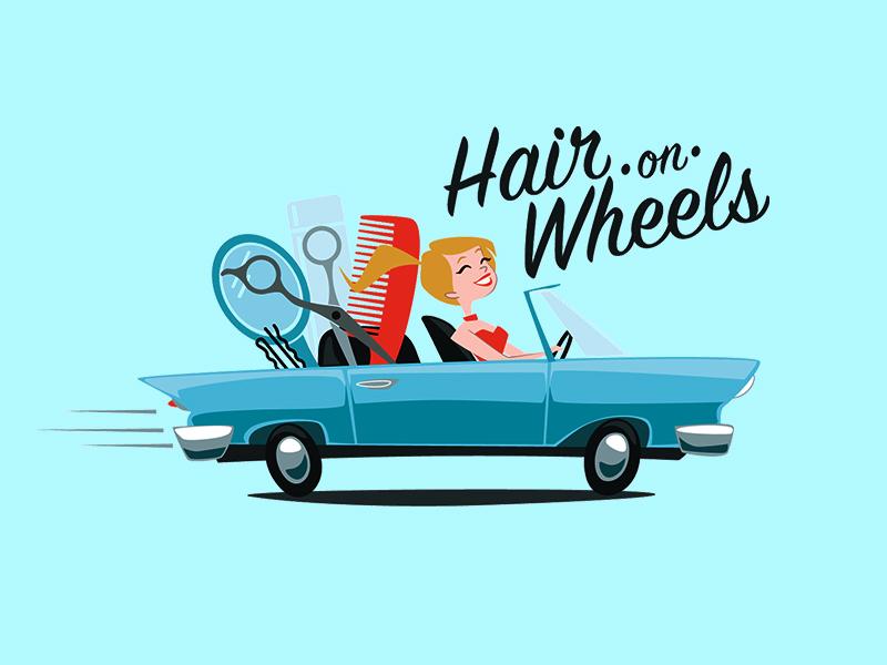 Hair On Wheels beauty cosmetology identity logo