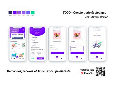 TODO - MOBILE APP | ECOLOGICAL CONCIERGERIE prototype protopie task service design ecologic design thinking atomic design ux  ui figma