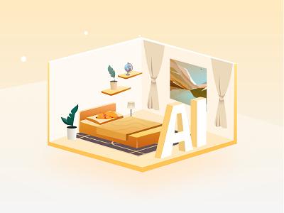 AI Home Decoration Design ui living room home decoration house home ai illustrator