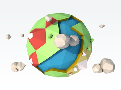 mini planet C4d practice concept earth plant c4d