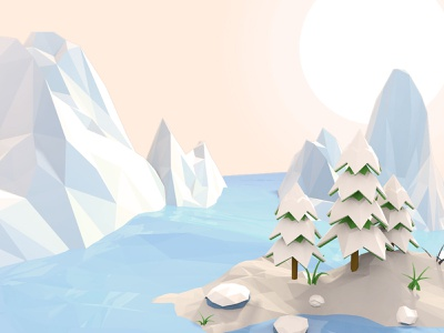 Iceland low poly practice ice iceland cinema4d c4d low poly lowpoly