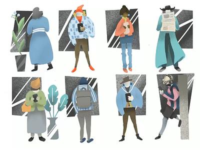Character Design video motion flat apparel man woman subway tutorial procreate illustraion people illustration roles character