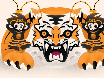 Tiger & Wukong illustration illustrator procreate monkeyking mokey wukong tiger