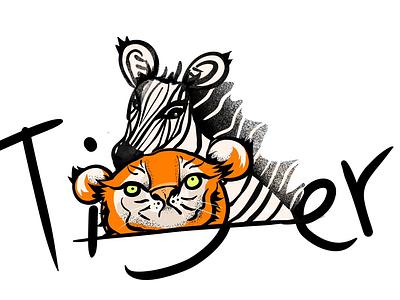 Tiger & Zebra art character animal stripe yellow branding motion design flat poster vector procreate ui ux horse zebra design motion illustrator tiger