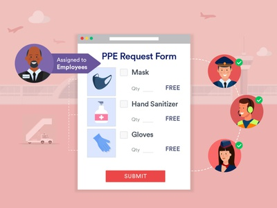 JotForm - Personal protective equipment request form gloves mask hand sanitizer form assignment managers employee plane airlines pilot hostess airport banner design covid-19 illustration design ui coronavirus jotform