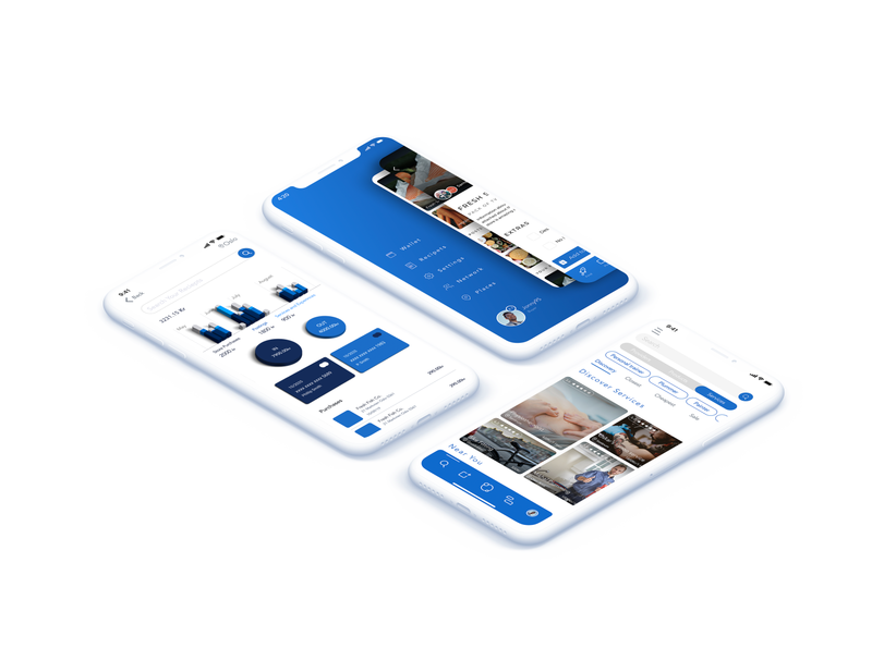 Layered elements graphic design flat minimal color scheme 3d clean ui design ux logo branding