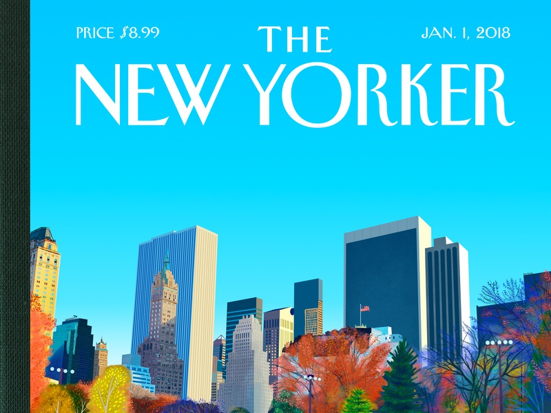 The New Yorker humour skating ice rink skyline city america new york central park donald trump trump cover artwork illustration