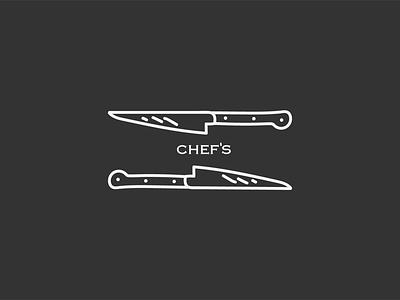 Chefs Logo cafe sharp chefs kitchen knifes chef simple shop branding brand vector ui simple logo minimal logo illustration icon design black  white black and white