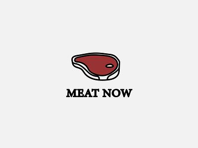 Meat Now logo illustrator art simple logos meat lover restaurant logo cafe logo meat logo minimalistic logo design minimal ui vector illustration icon branding brand logo black and white simple logo