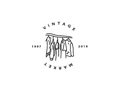 Vintage Market logo vector drawing letters design icon adobe illustration brandlogo brand branding baw simplelogo simple market 2019 clothes vintage logos art