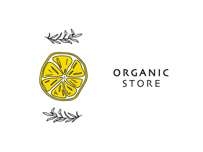 Organic Store logo simple minimal design vector ux icon logo black and white small business business logo food logo simple logo design white logo fruit icons fruit logo lemons nature logo organic art organic food organic logo