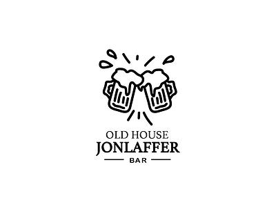 Old House Bar logo typography logo for sale business logo logos ui minimal design branding brand simple logo black and white illustraor vector drinks icon bar logo bar logo beer beer art