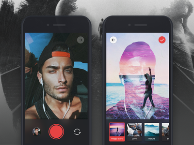 Video App Concept filters camera video photo ux ui ios interface flat application app